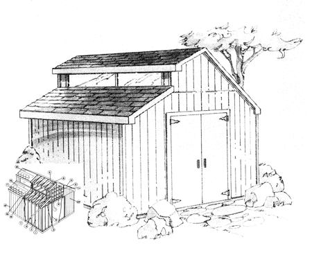 R14-5133 - Contemporary Shed Paper Plans Construction Plan.