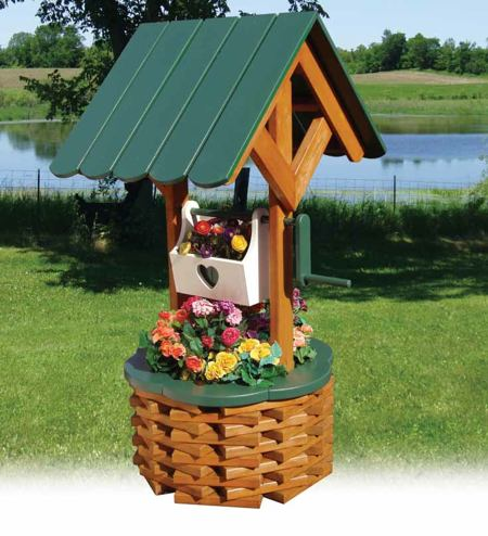 19 w2023 large wishing well woodworking plan for Garden well designs