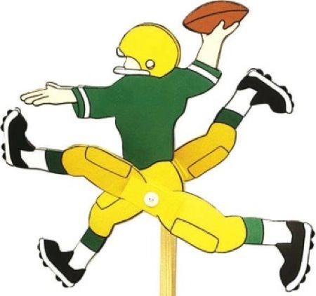 19-W2069 - Football Player Whirligig Woodworking Plan.