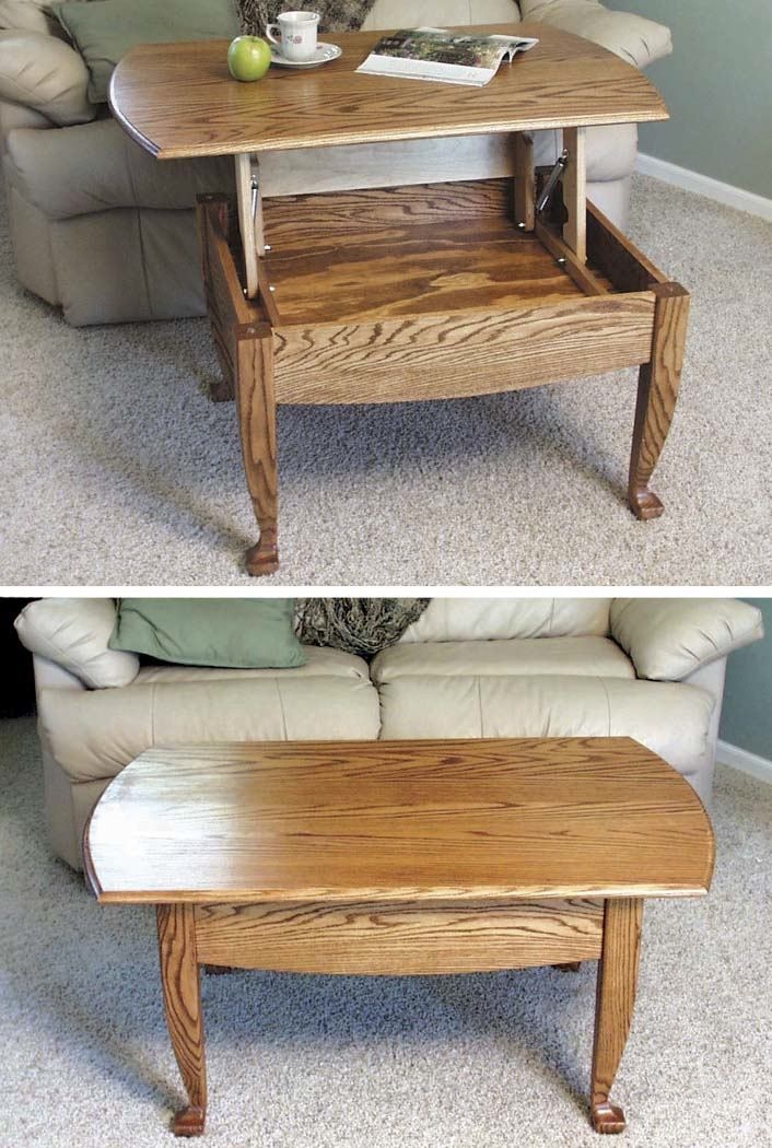 Lift-up-top Coffee Table Woodworking Plan.