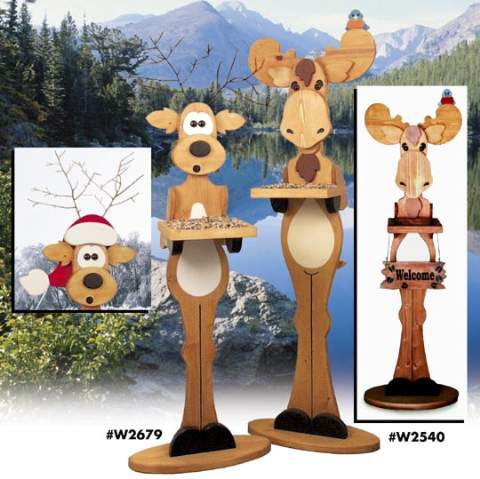 Moose Bird Feeder Woodworking Plan.