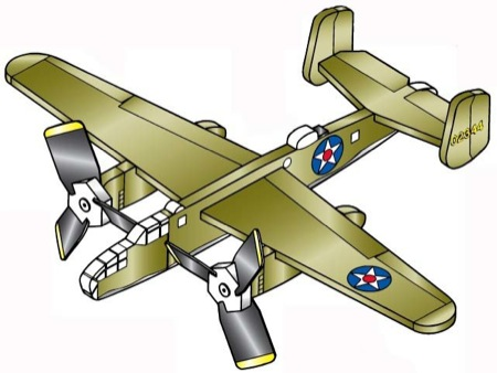 Mitchell B-25B 3 Propeller 3 Engine Airplane Whirligig Project Plan