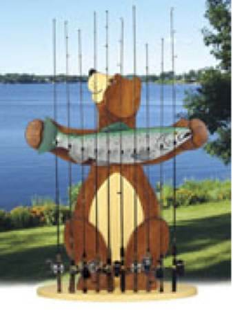 19-W3006 - Bear Fishing Rod Holder Woodworking Plan.