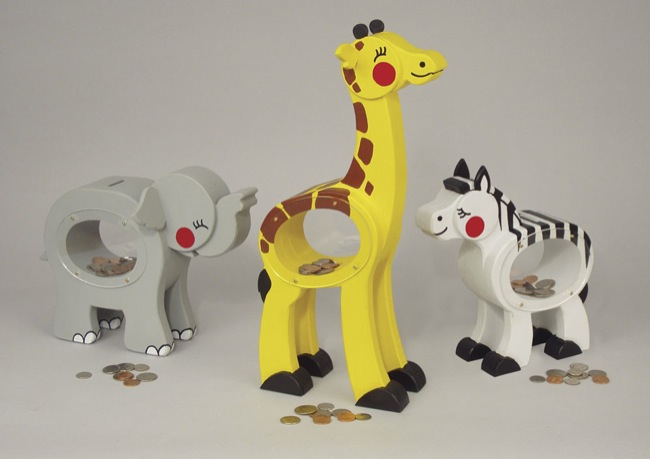 19-W3109 - Zoo Animal Coin Bank Woodworking Plan Set.
