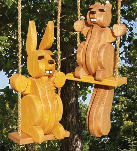 Swinging Squirrel and Bunny Woodworking Plan Set.