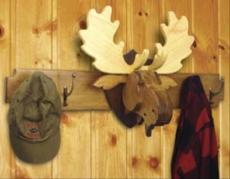 Moose Head Coat Rack and Trophy Woodworking Plan - 2 plans included.
