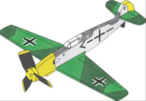 19-W3229 - BF 109 3 Blade Single Engine Whirligig Woodworking Plan