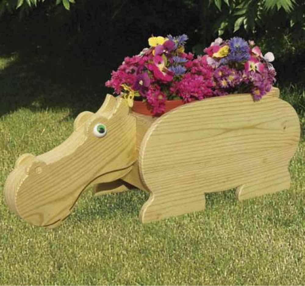 Flower Pot Hippo Woodworking Plan.