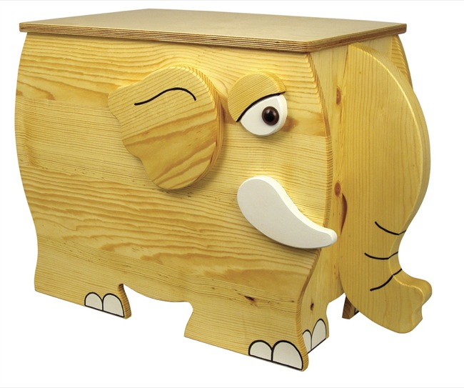 Childrens Elephant Toy Box Woodworking Plan.
