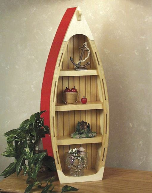 19-W3491 - Boat Curio Shelf Woodworking Plan.