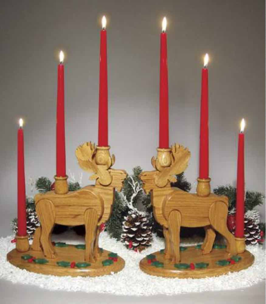 Moose Candle Holder Woodworking Plan.