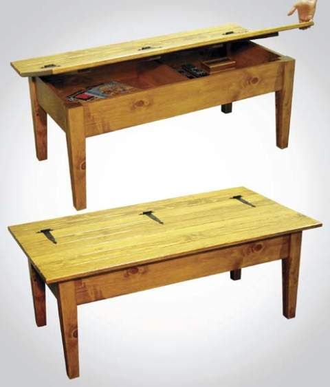 Hinged-Top Coffee Table Woodworking Plan.