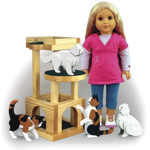Doll Sized Cat Tree and Cats Woodworking Plans