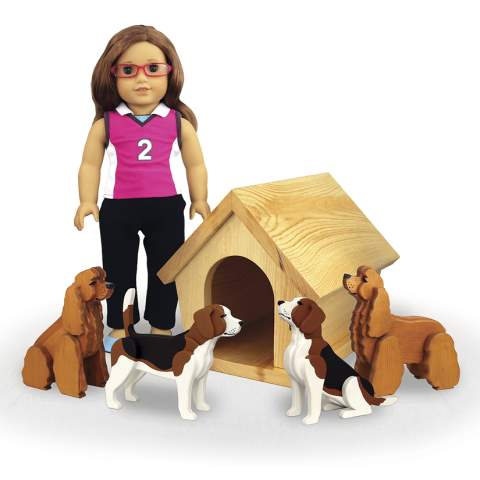 Doll Sized Doghouse and Dogs Woodworking Plans