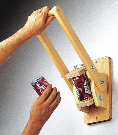 Wall Mounted Can Crusher Woodworking Plan