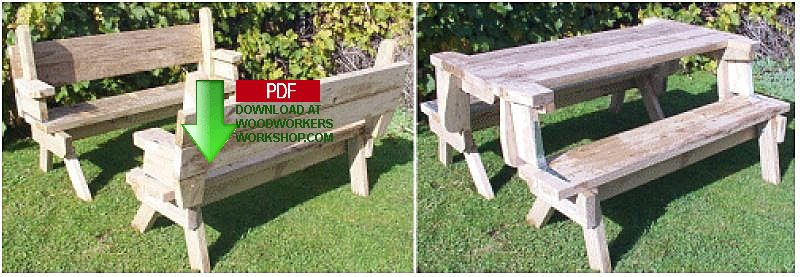 Superb Folding Picnic Table And Bench Seat Combination Woodworking Plan Short Links Chair Design For Home Short Linksinfo