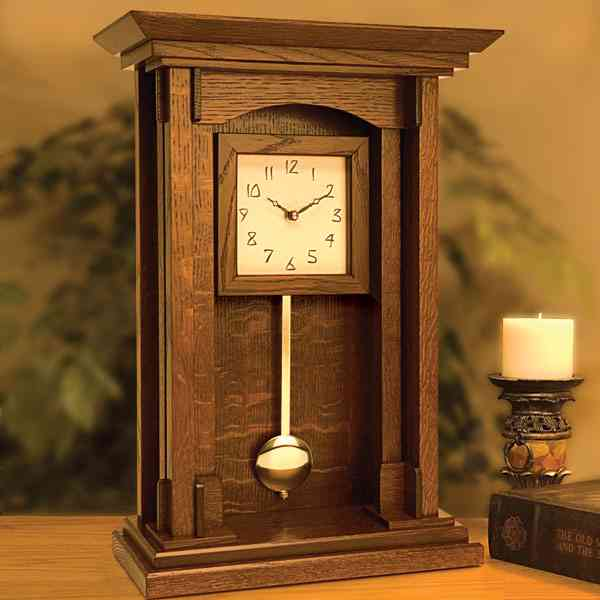 Arts and Crafts Pendulum Clock Woodworking Plan
