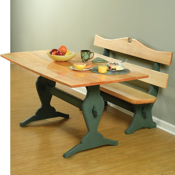 Kitchen Trestle Table And Benches Woodworking Plan Set