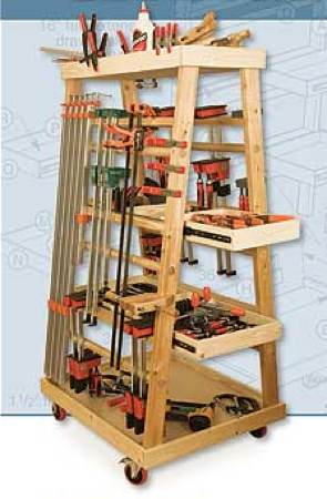 A-Frame Mobile Clamp Rack Woodworking Plan No4
