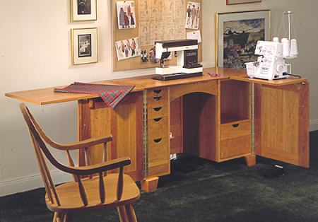 Sewing Center Cabinet Woodworking Plan.