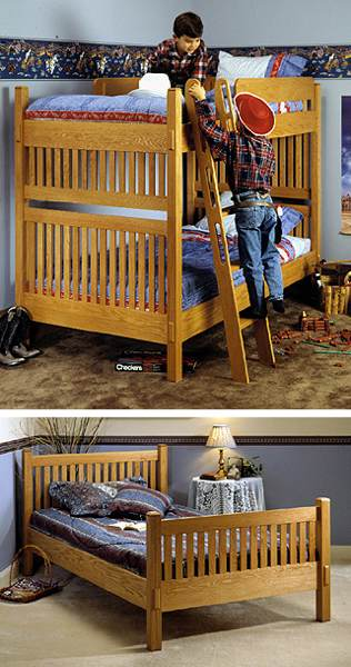 31-MD-00044 - Arts and Crafts Bunk Beds Woodworking Plan.