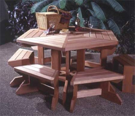 Picnic Table and Moveable Benches Woodworking Plan.