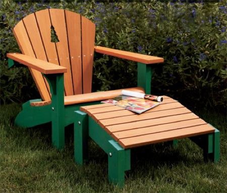 31-MD-00197 - Adirondack Chair and Footrest Woodworking Plan