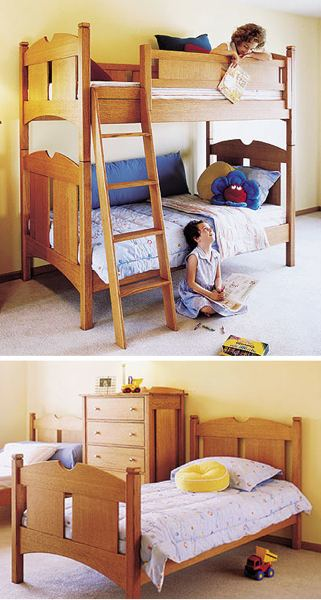 31-MD-00216 - Kids Oak Bunk Beds Woodworking Plan.