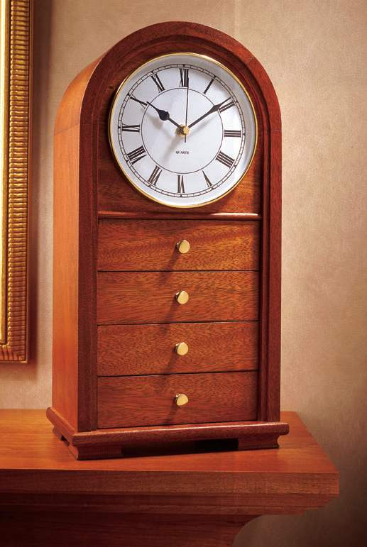Arched Top Clock with Drawers Woodworking Plan.