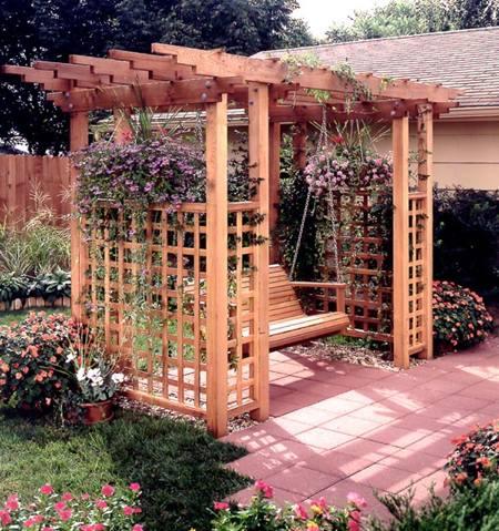 31 md 00394 garden arbor getaway woodworking plan for Garden getaway designs