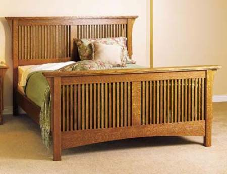 31-MD-00424 - Arts and Crafts Bed Woodworking Plan.