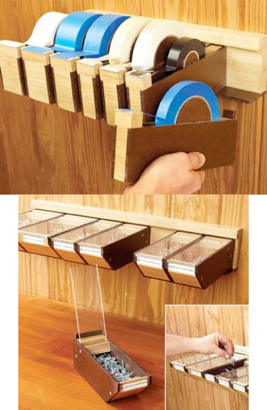 Hardware Bins and Tape Storage Woodworking Plan