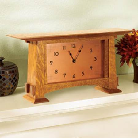Arts and Crafts Mantle Clock II Woodworking Plan.