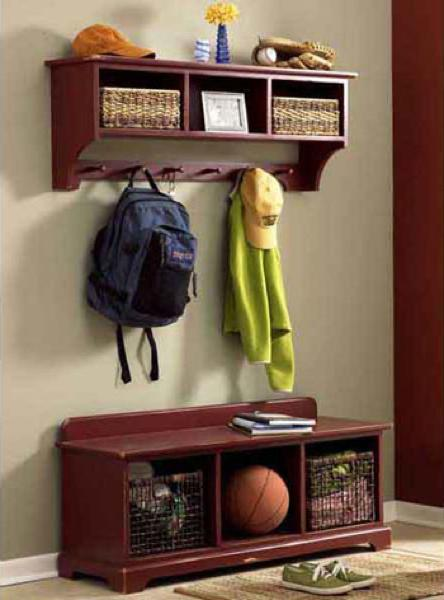31-MD-00509 - Storage Bench and Wall Shelf Woodworking Plan.