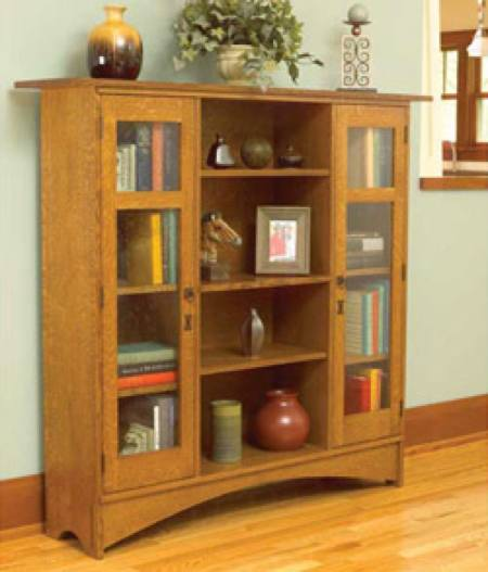 Mission Bookcase Woodworking Plan.