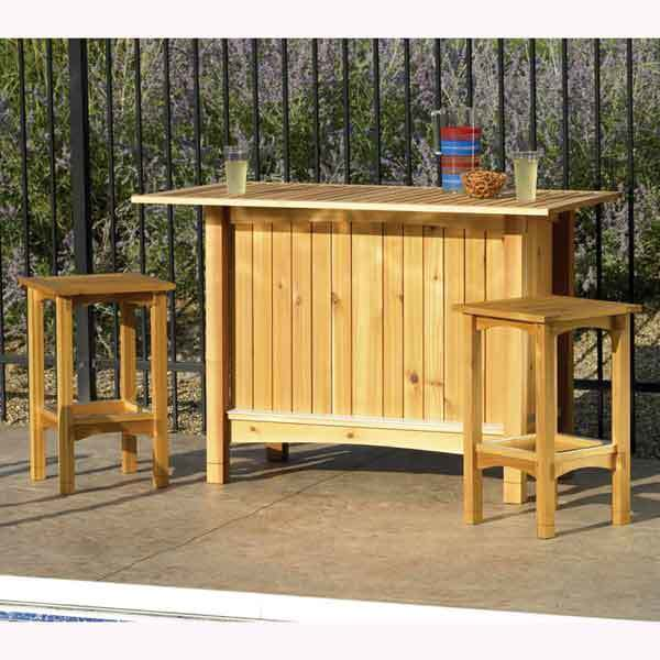Outdoor Bar Server and Stools Woodworking Plan