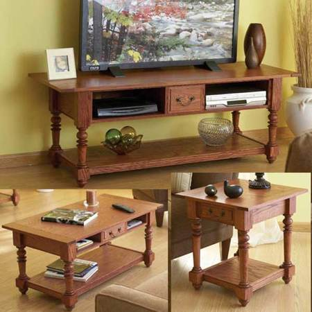 31-MD-00595 - Big Screen TV Trio Woodworking Plan