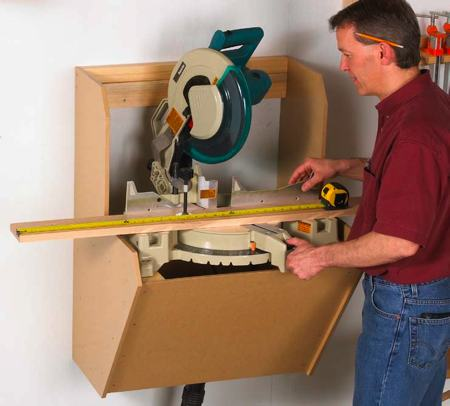On The Wall Mitersaw Station Woodworking Plan