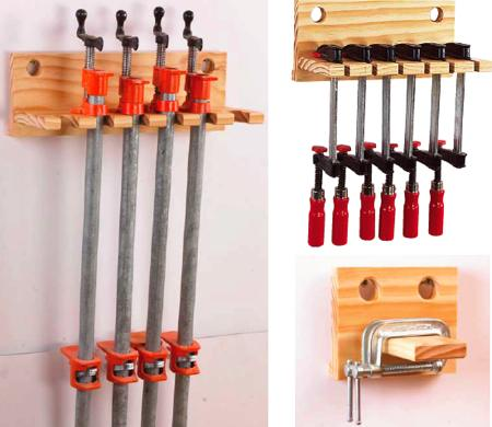 Pipe Bar and C-Clamp Racks Woodworking Plan
