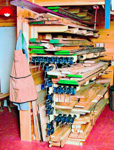 Combination Lumber and Clamp Rack Woodworking Plan