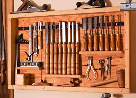 Rack for Chisels and Measuring Tools Woodworking Plan