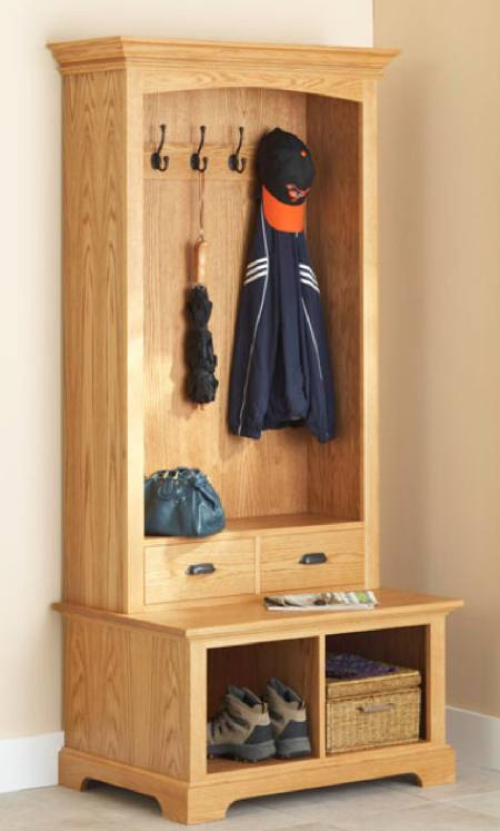 Hall Tree Storage Bench Woodworking Plan.