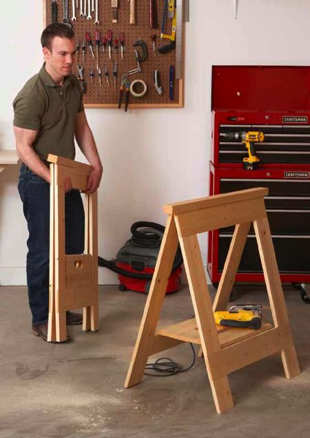 Fold Flat Sawhorses Woodworking Plan Woodworkersworkshop