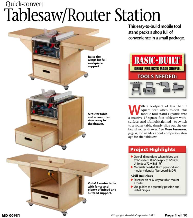 31-MD-00931 - Quick Convert Tablesaw Router Station Woodworking Plan