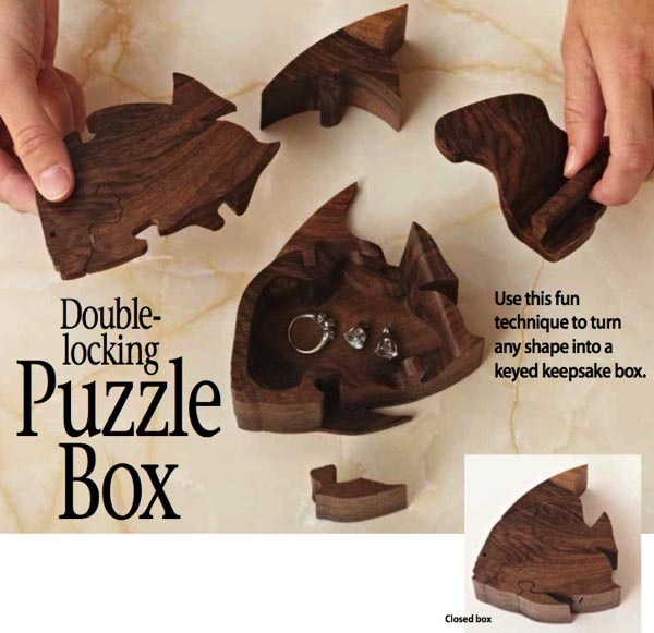 Double Locking Puzzle Box Woodworking Plan.
