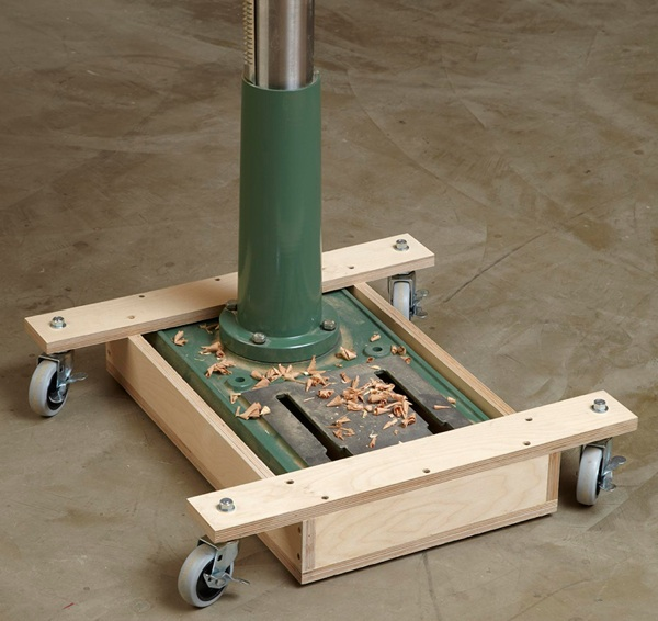 Drill Press Mobile Base Woodworking Plan
