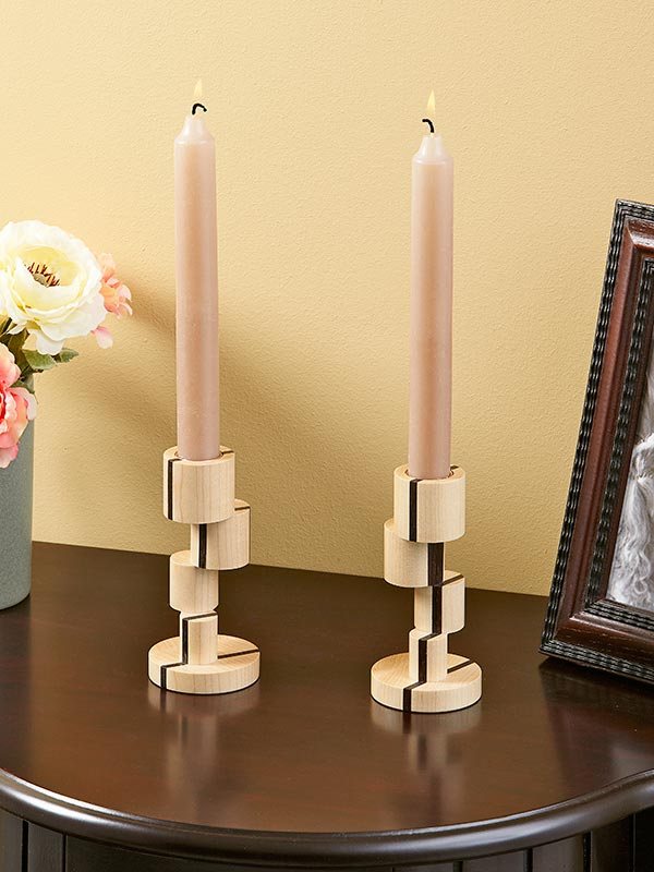 Offset-turned Candlesticks Woodworking Plan