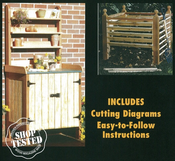 Potting Bench and Compost Bin Woodworking Plan Set.