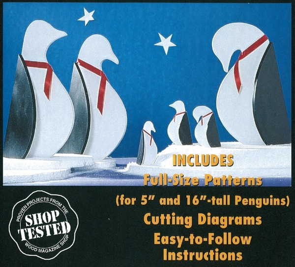 31-OFS-1047 - Pint Sized Penguins 5 and 16 inches tall Woodworking Pattern Set