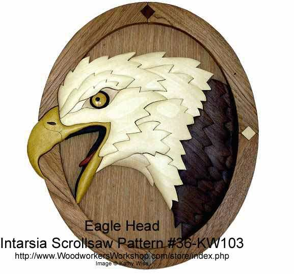 36-KW103 - Eagle Head Intarsia Woodworking Pattern